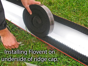 Flovent can be installed on the roof, or on the underside of the ridge cap.
